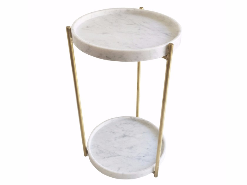 Round Carrara marble high side table OLIVER   Side table - Evie Group
