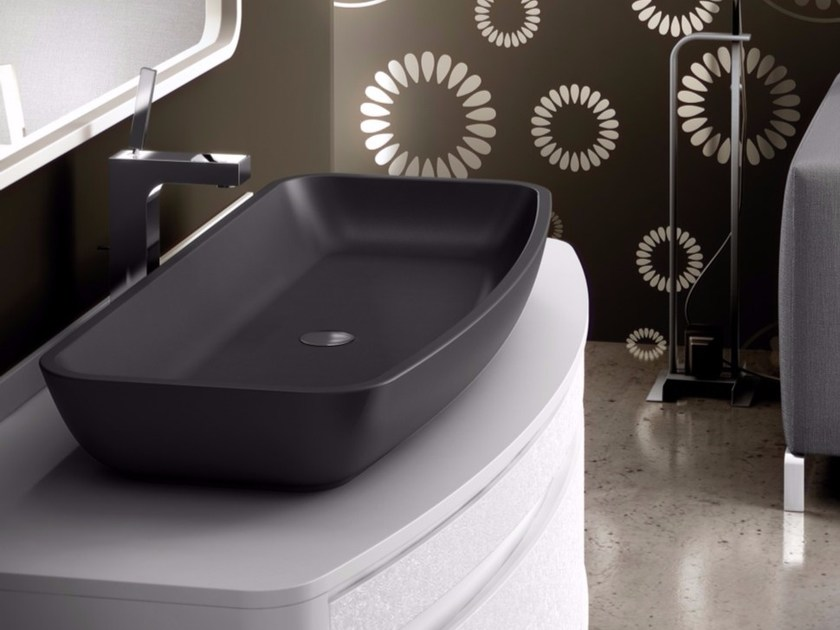 Countertop single Silexpol® washbasin OMICRON by Fiora