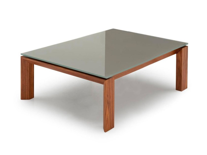 Rectangular wood and glass coffee table OMNIA | Rectangular coffee table - Calligaris