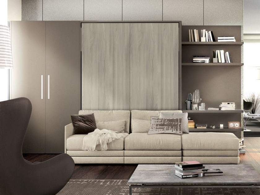 Lacquered storage wall with fold-away bed ON-OFF 203 by TUMIDEI