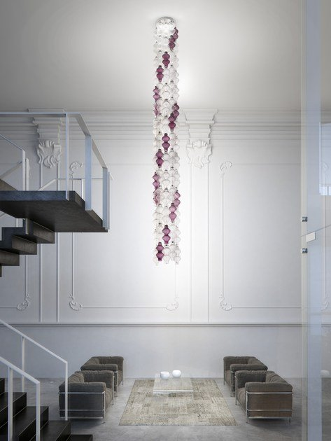 Blown glass pendant lamp ONDA | Pendant lamp - Zafferano