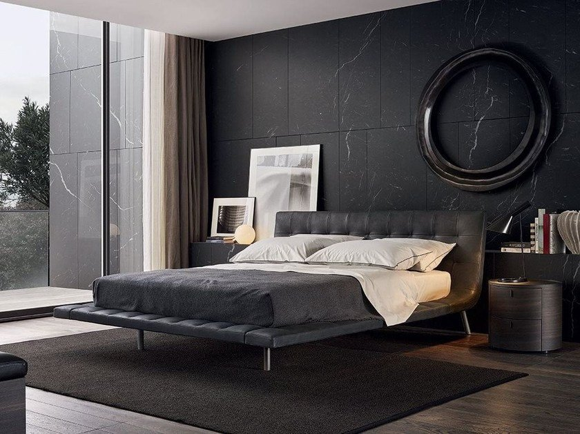 Leather double bed with tufted headboard ONDA | Double bed by poliform