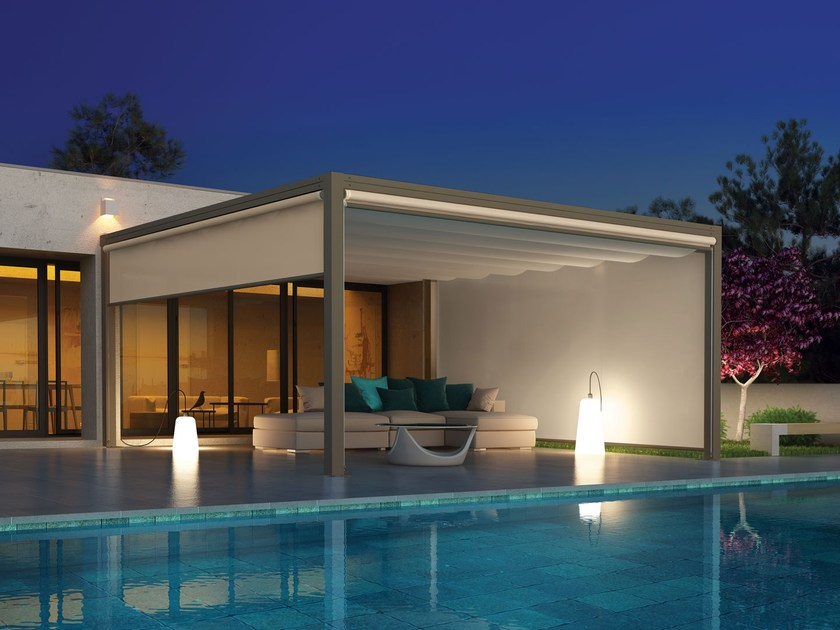 Freestanding aluminium and PVC pergola with sliding cover ONDA | Freestanding pergola by Giulio Barbieri