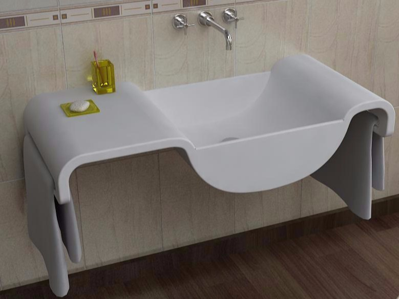 Wall-mounted Adamantx® washbasin with towel rail ONDA - ZAD ITALY