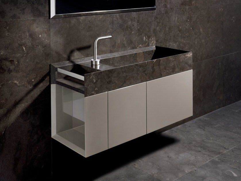 Wall-mounted marble vanity unit with doors ONSEN | Vanity unit by SALVATORI