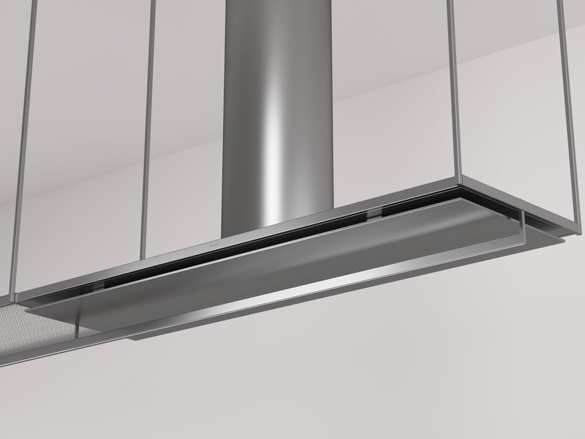 Glass and Stainless Steel island hood with integrated lighting OPEN | Cooker hood - Boffi