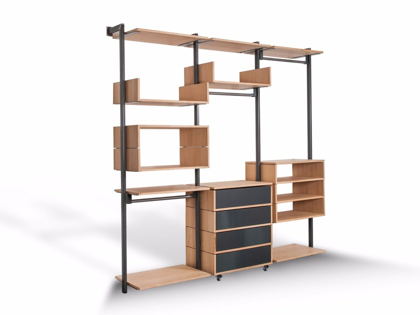 Sectional modular wooden storage unit OPEN - Riva 1920