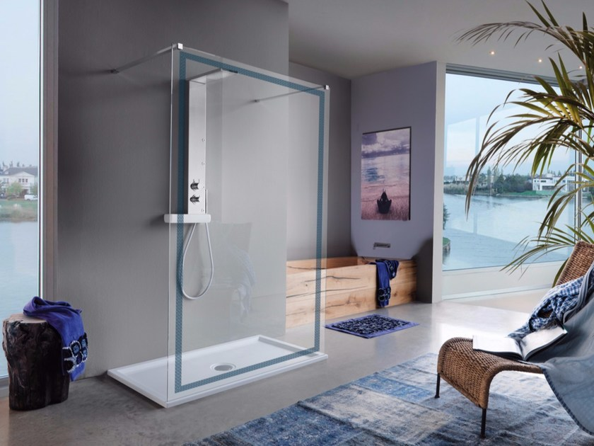 Rectangular shower cabin with tray OPEN SCREEN by Samo