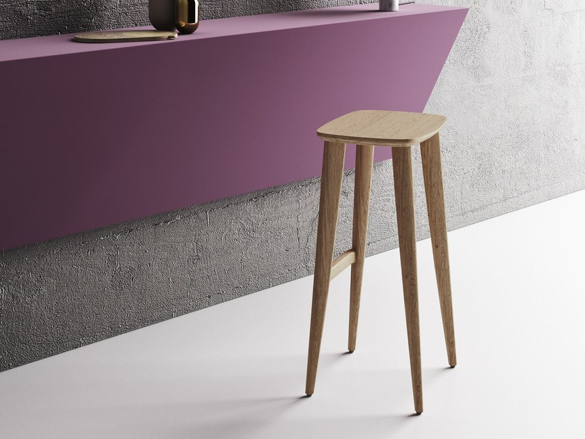 High solid wood barstool with footrest OPERÀ | Stool by Imperial Line