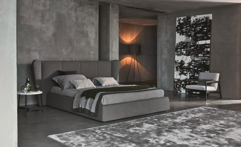 Double bed with upholstered headboard OPUS - Ditre Italia