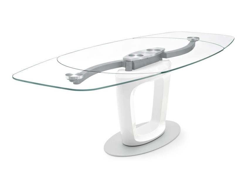 Extending glass table ORBITAL by Calligaris