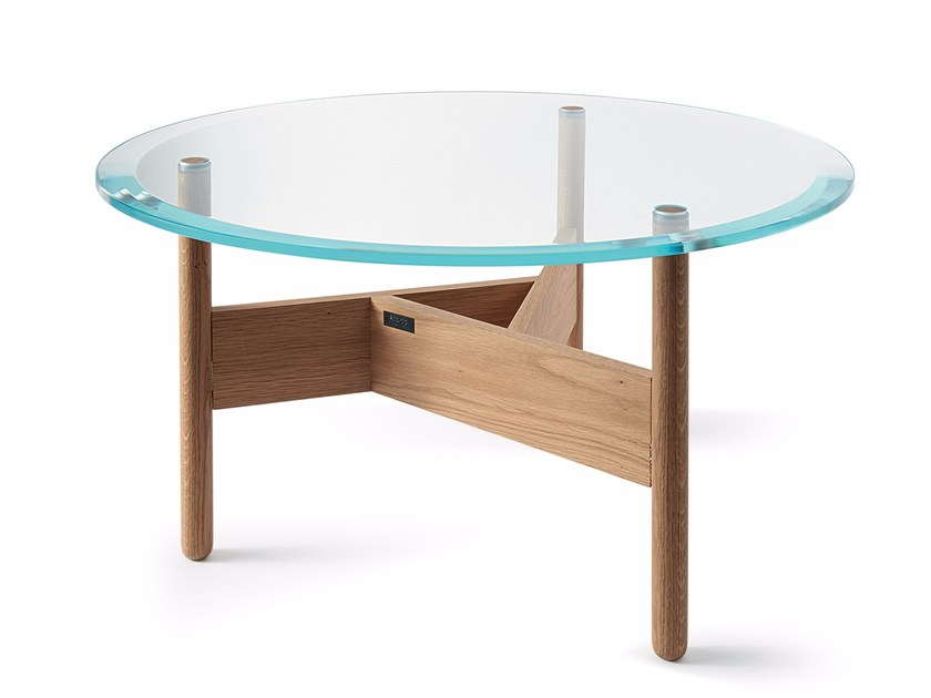 Low round glass coffee table ORBITAL | Glass coffee table - Atipico
