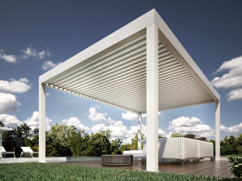 Freestanding motorized pergola with sliding cover ORCHESTRA ISOLA by DIRELLO