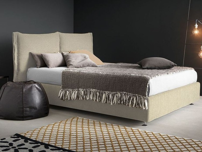 Fabric bed with removable cover with upholstered headboard ORFEO by Chaarme