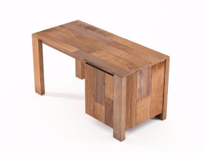 Rectangular wooden writing desk with door ORGANIK   Rectangular writing desk - KARPENTER