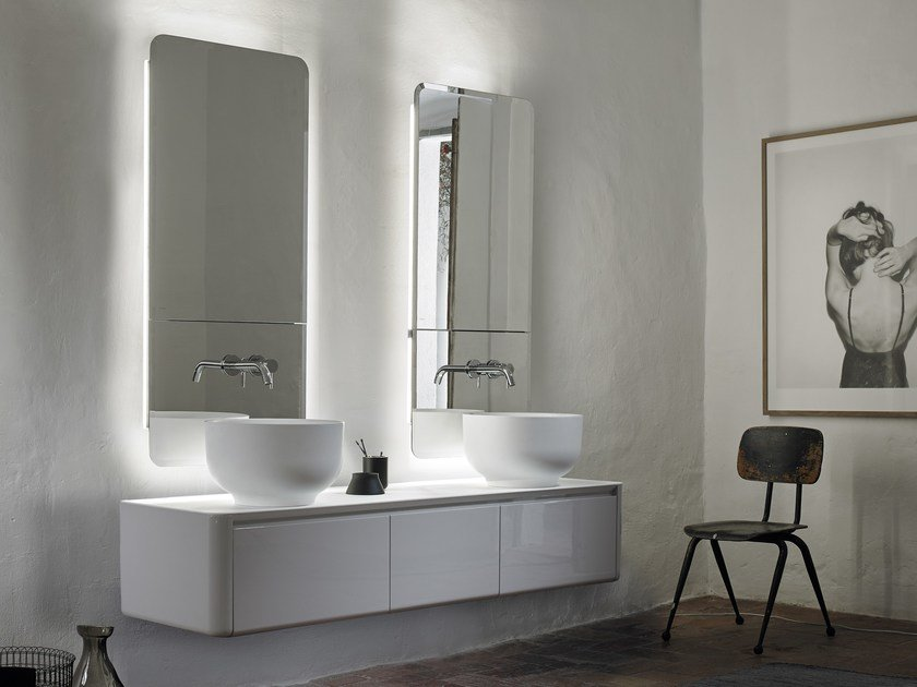 Double wall-mounted vanity unit with drawers ORIGIN | Wall-mounted vanity unit - INBANI
