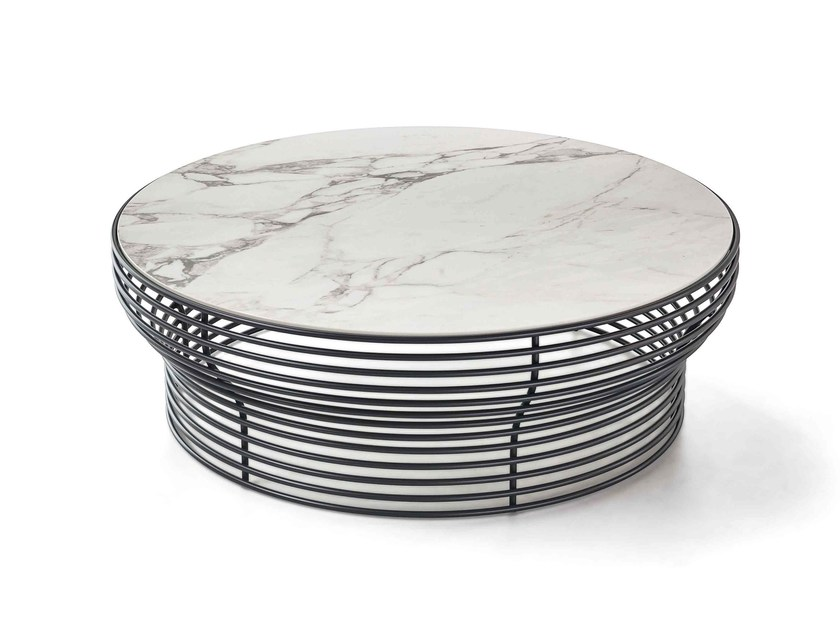 Round glass and steel coffee table ORION by Bonaldo