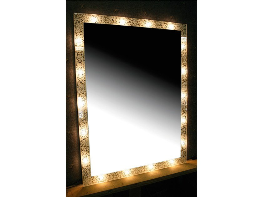 Mirror with integrated lighting ORNAMENTS - Top Light