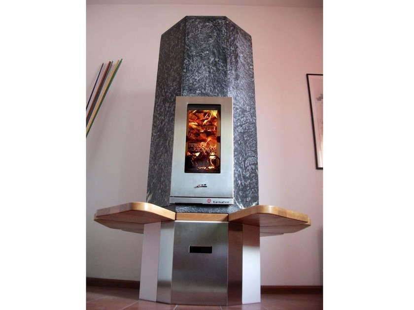 Wood-burning natural stone stove with bench OTA2 | Stove with bench by KarniaFire