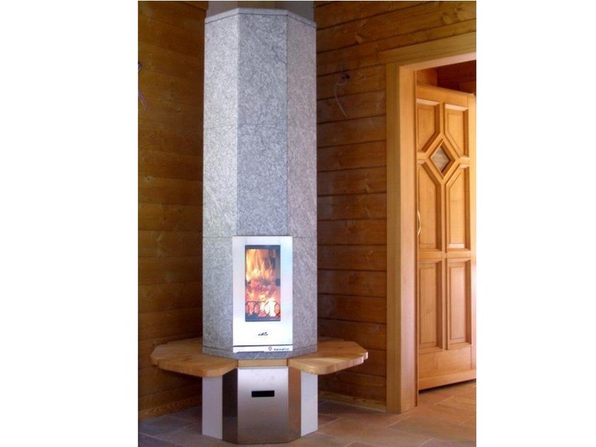 Wood-burning natural stone stove with bench OTA3 | Stove with bench - KarniaFire