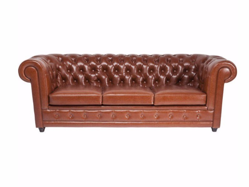 Tufted 3 seater leather sofa OXFORD COGNAC - KARE-DESIGN