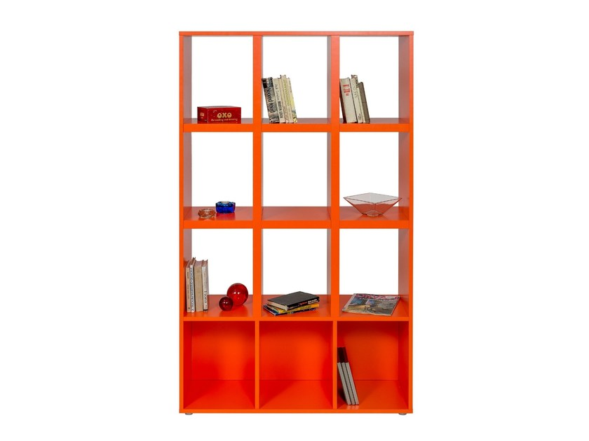Open lacquered wooden bookcase OXO by Woodman