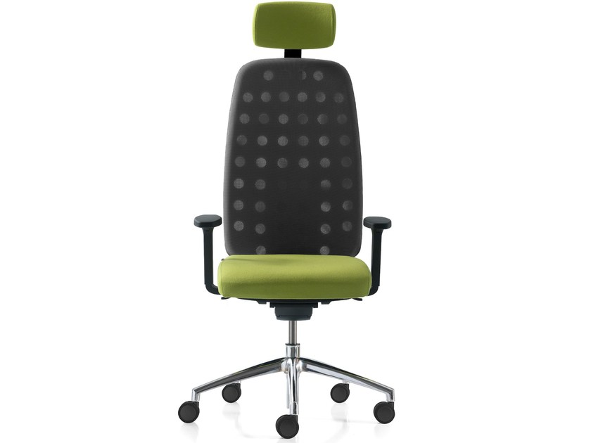 Height-adjustable mesh task chair with 5-Spoke base with armrests OXYGEN - Quinti Sedute