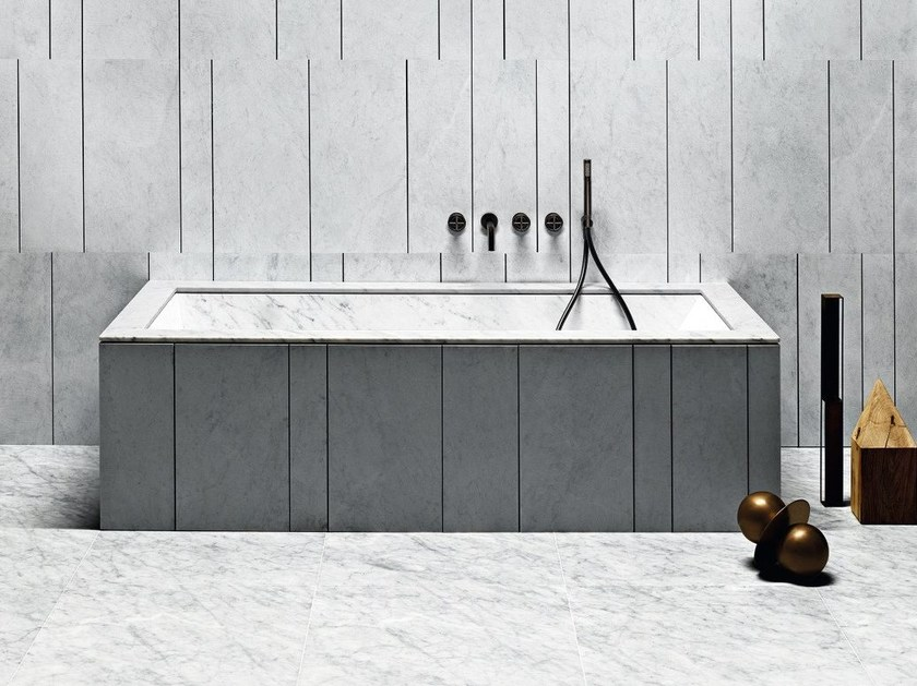 Rectangular marble bathtub OYSTER by SALVATORI