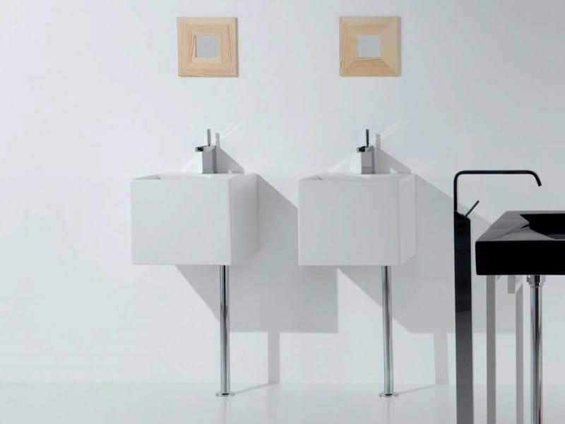 Square wall-mounted ceramic washbasin OZ 42   Wall-mounted washbasin - GSG Ceramic Design