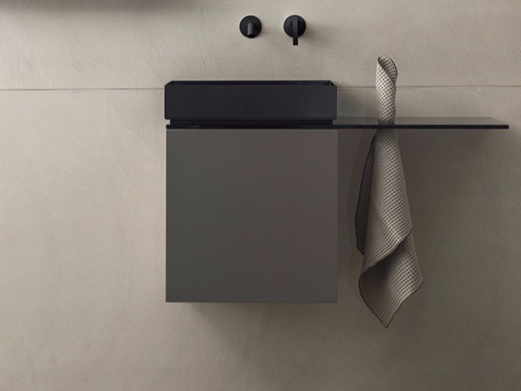 Wall-mounted vanity unit with door P40 by Moab80