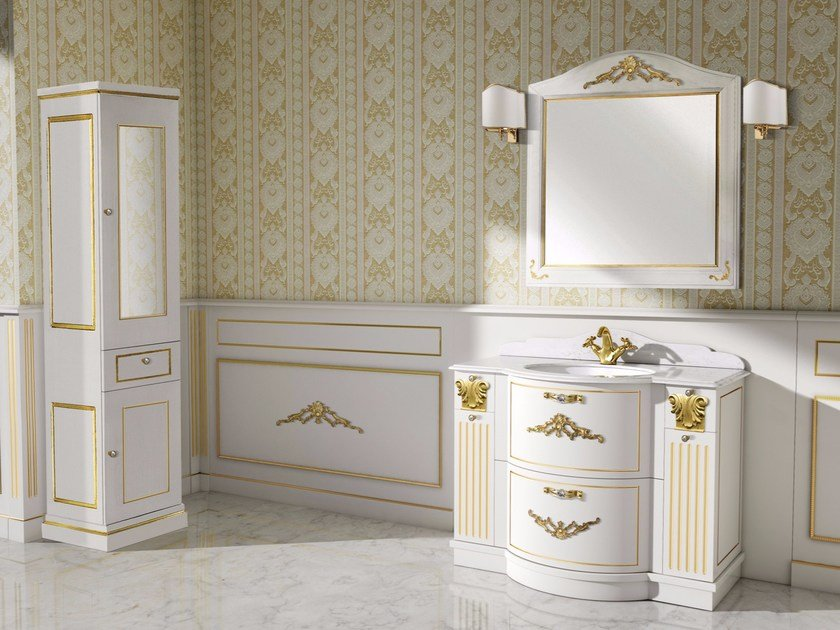 Lacquered vanity unit with drawers with mirror PAESTUM CM23DC - LA BUSSOLA