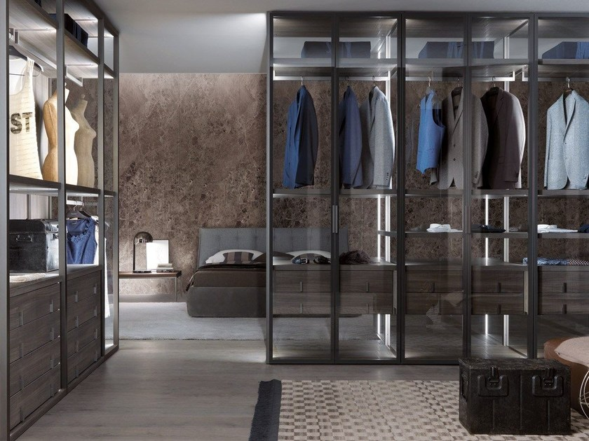 Sectional custom glass walk-in wardrobe PALO ALTO | Sectional walk-in wardrobe - MisuraEmme