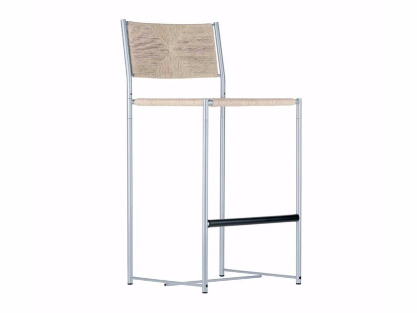 Straw counter stool with footrest PALUDIS STOOL - 151 by Alias