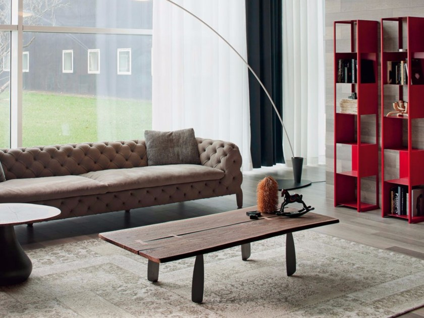 Low rectangular walnut coffee table PANAMA by Cattelan Italia