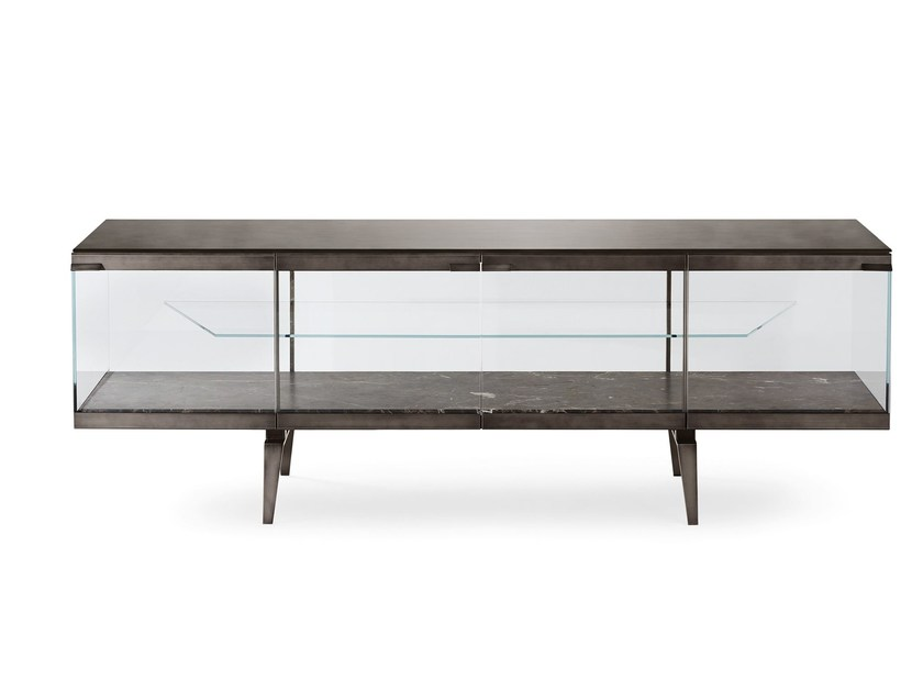 Tempered glass sideboard with doors PANDORA LIGHT - Gallotti&Radice