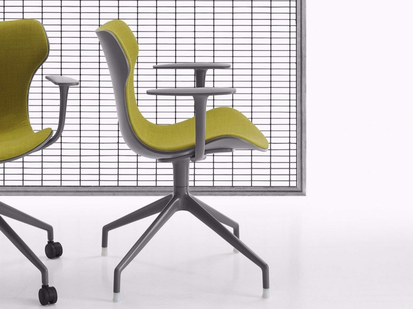 Swivel fabric task chair with 4-Spoke base with armrests PAPILIO SHELL | Task chair with 4-Spoke base - B&B Italia