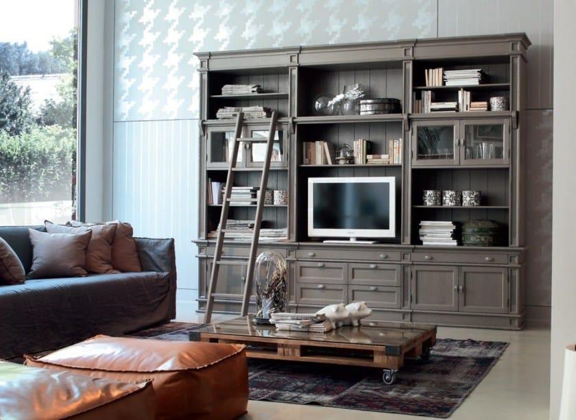 Open freestanding solid wood bookcase PARIS | Bookcase - Devina Nais