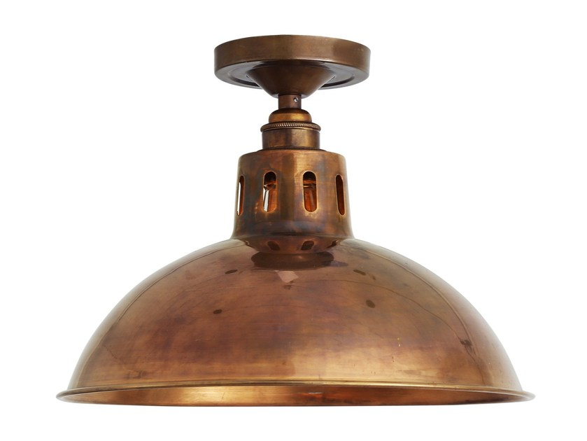 Handmade brass ceiling lamp PARIS INDUSTRIAL BRASS CEILING FITTING - Mullan Lighting