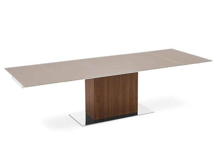 Extending wood and glass table PARK GLASS by Calligaris