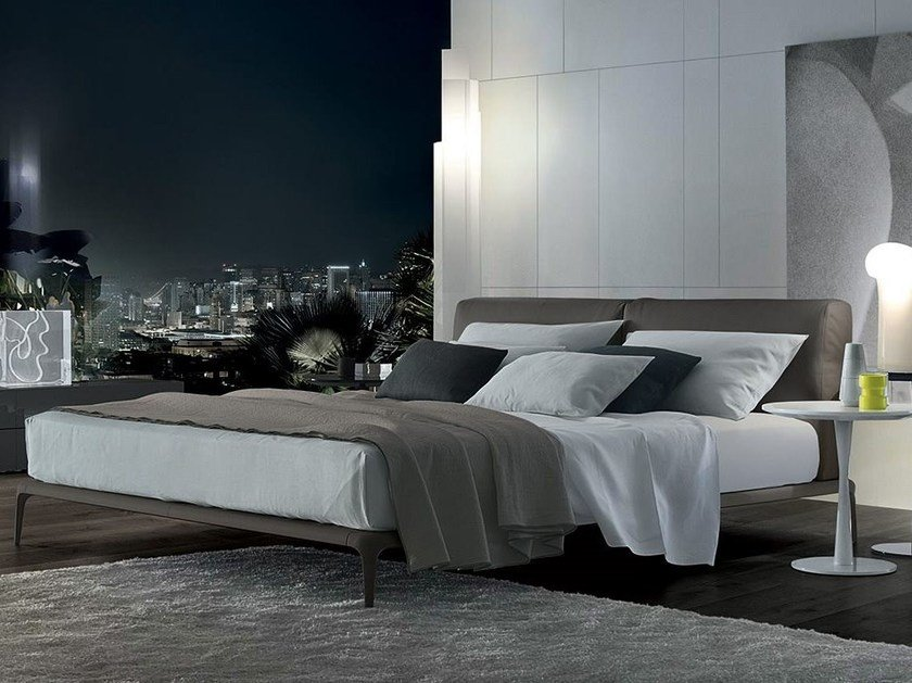 Leather double bed with upholstered headboard PARK | Leather bed - Poliform