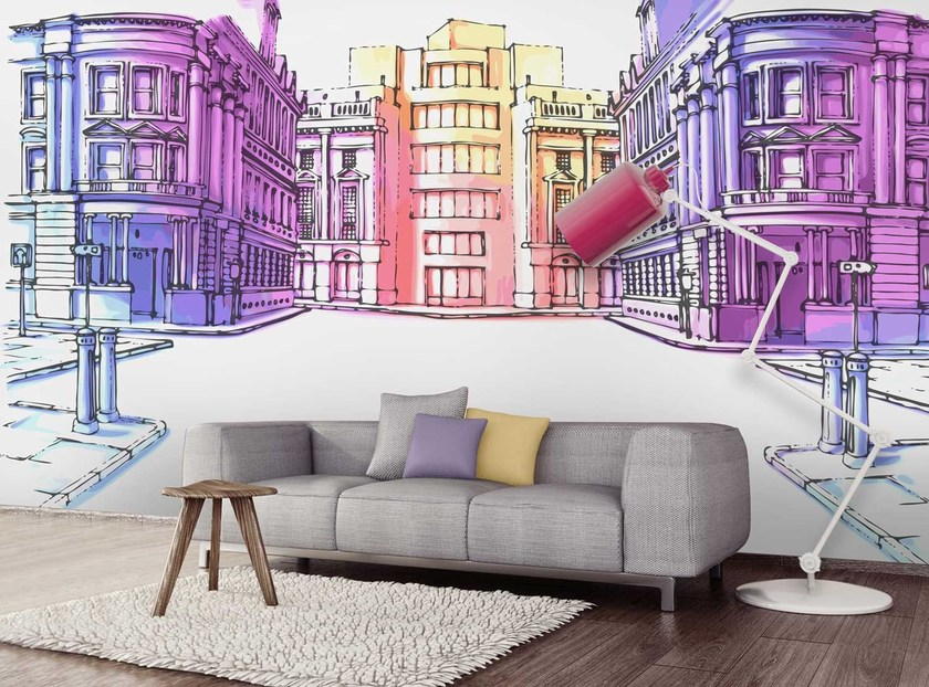 Washable panoramic nonwoven wallpaper PASTELSTREET © - LGD01