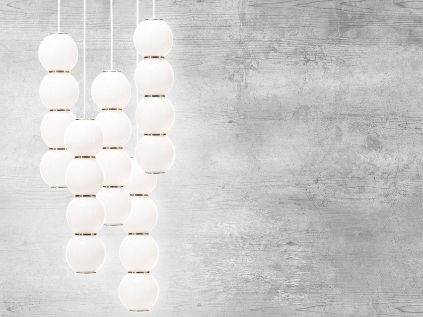 LED satin glass pendant lamp PEARLS 5 by Formagenda