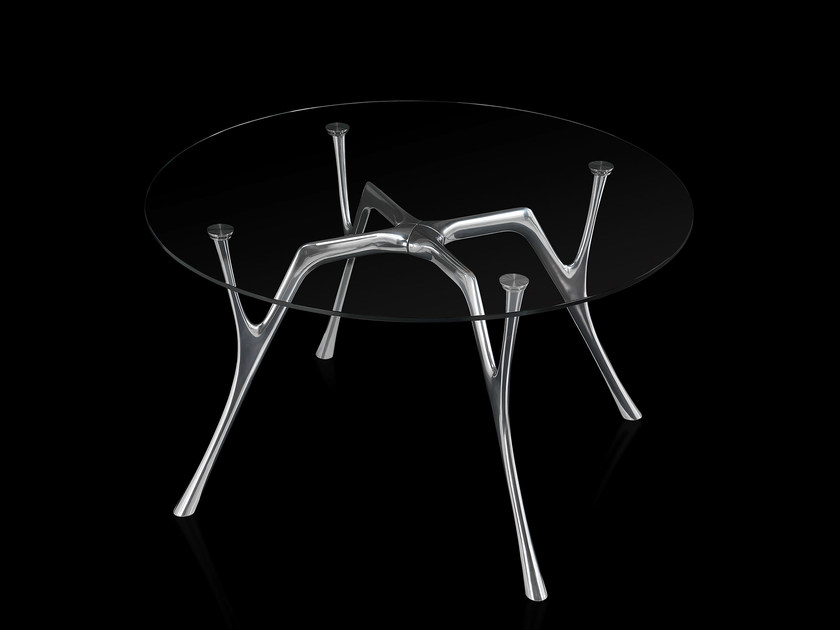 Round glass and steel table PEGASO | Round table - Caimi Brevetti
