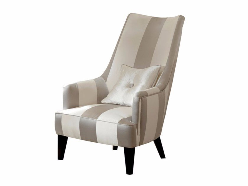 Upholstered high-back fabric armchair PENELOPE | Armchair by SOFTHOUSE
