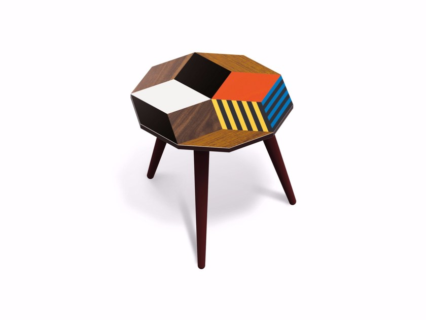 Beech wood and HPL side table PENROSE CRAZY WOOD S - Bazartherapy