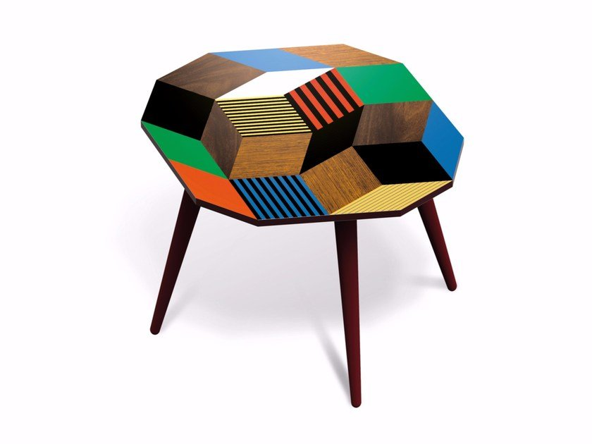 Beech wood and HPL side table PENROSE CRAZYWOOD M - Bazartherapy