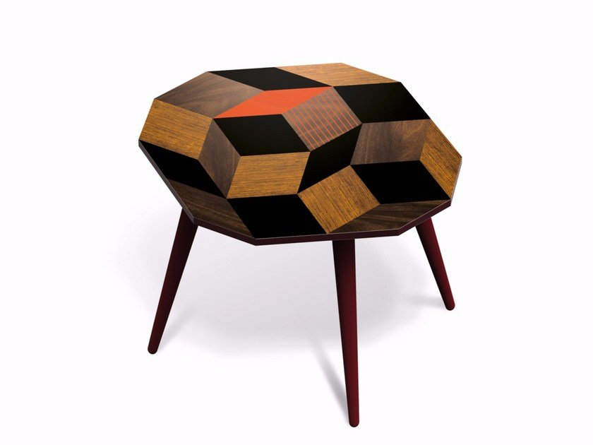 Beech wood and HPL side table PENROSE FALLWOOD M by Bazartherapy