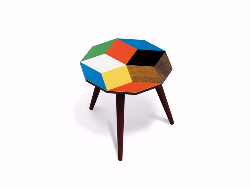 Beech wood and HPL side table PENROSE PLAYWOOD S - Bazartherapy