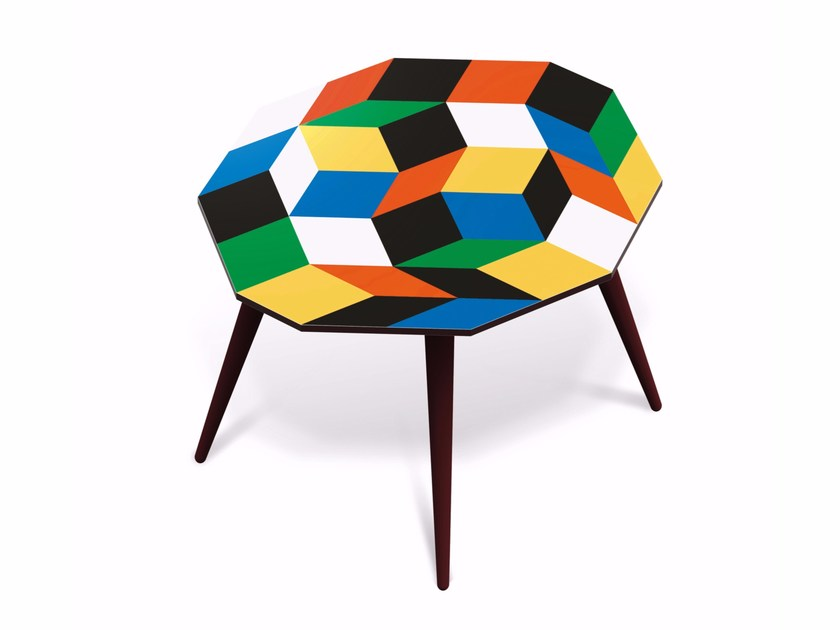 Beech wood and HPL side table PENROSE PRIMARIES L - Bazartherapy