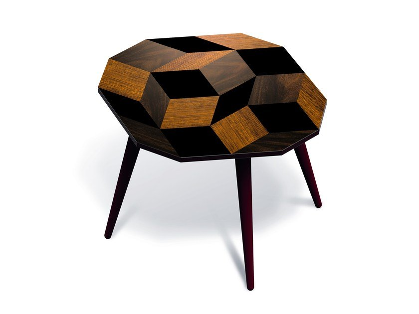 Beech wood and HPL side table PENROSE WOOD M by Bazartherapy